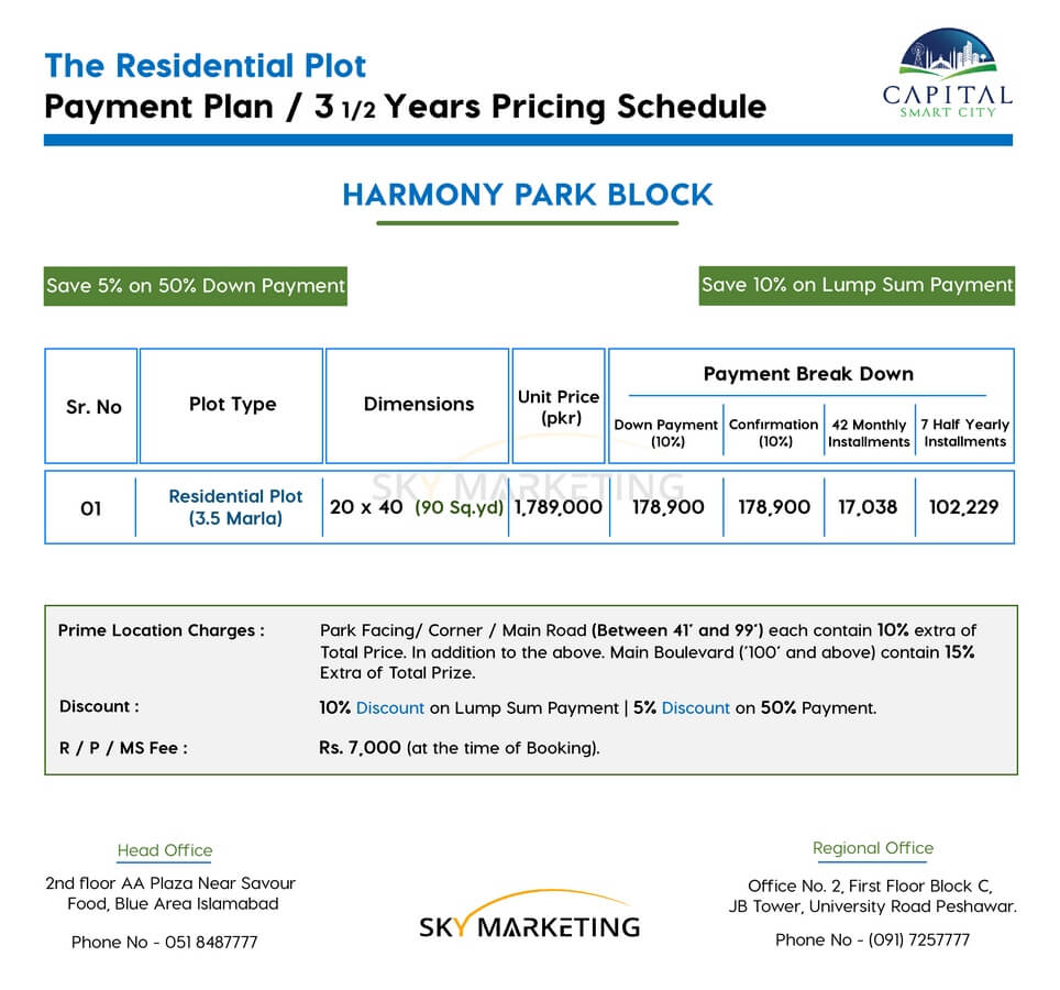 3.5 Marla Plot at Capital Smart City Price and Payment Plan