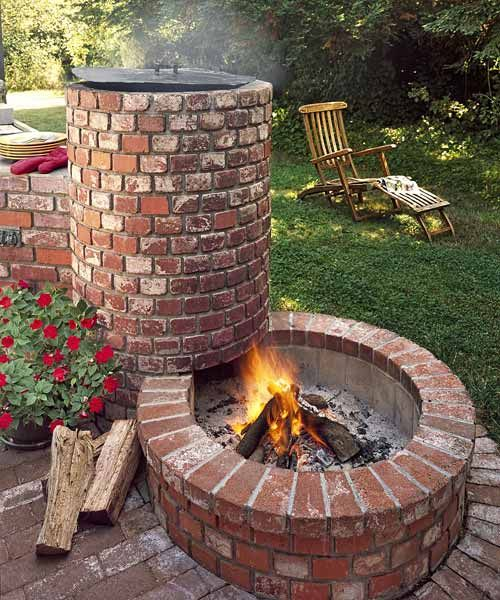 Integrated BBQ With Alternating Concrete Brick Fire Pit