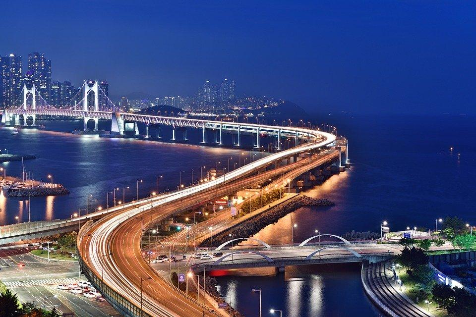 Busan Night Scene, Bridge, Busan, Night, Gwangan Bridge