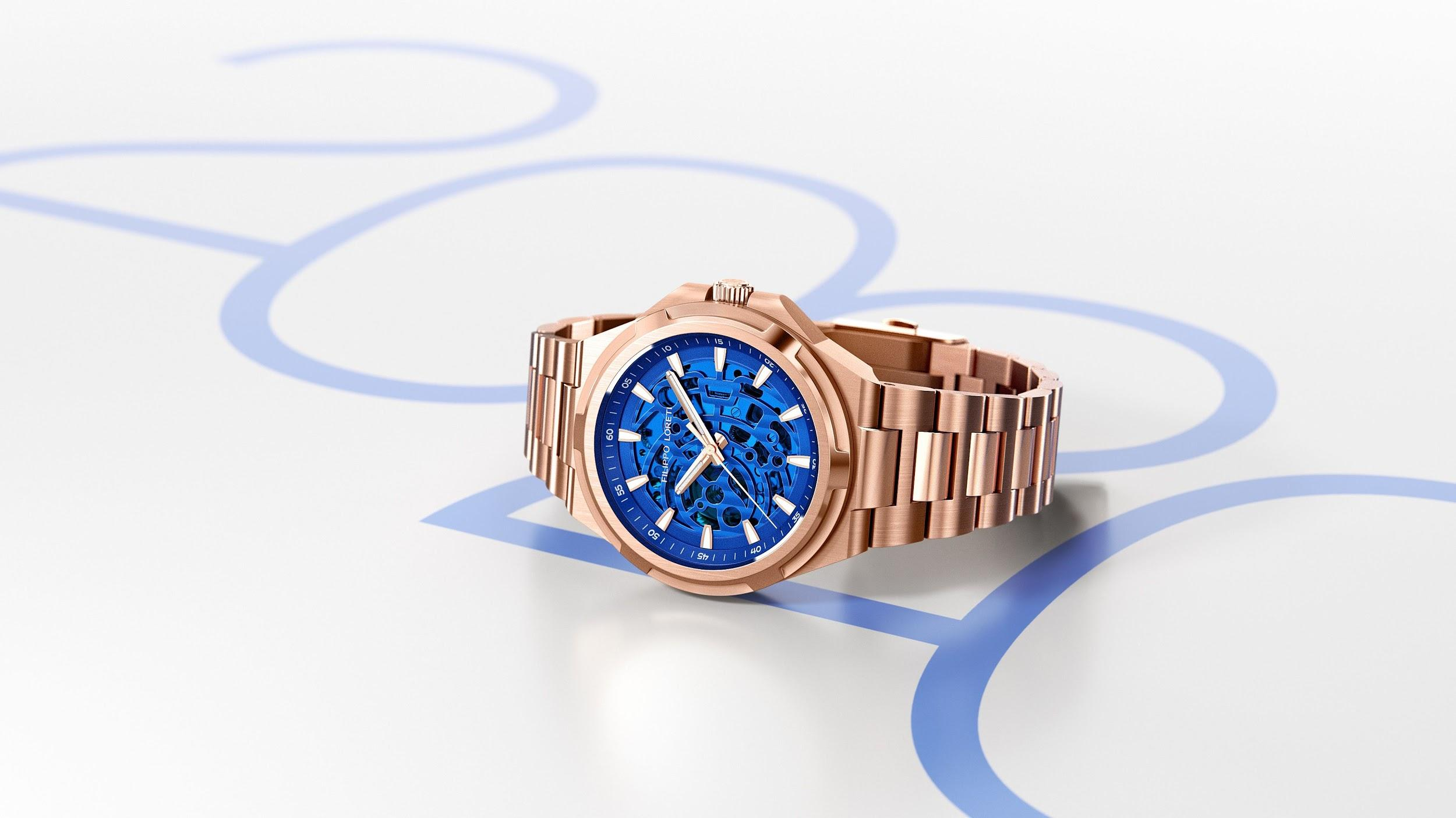 Skeleton Rose Gold Blue Automatic Watch from Filippo Loreti