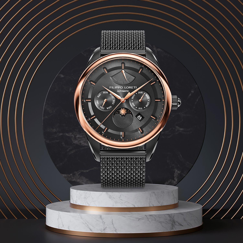 Venice Automatic Fusion Black Mesh Watch from Filippo Loreti